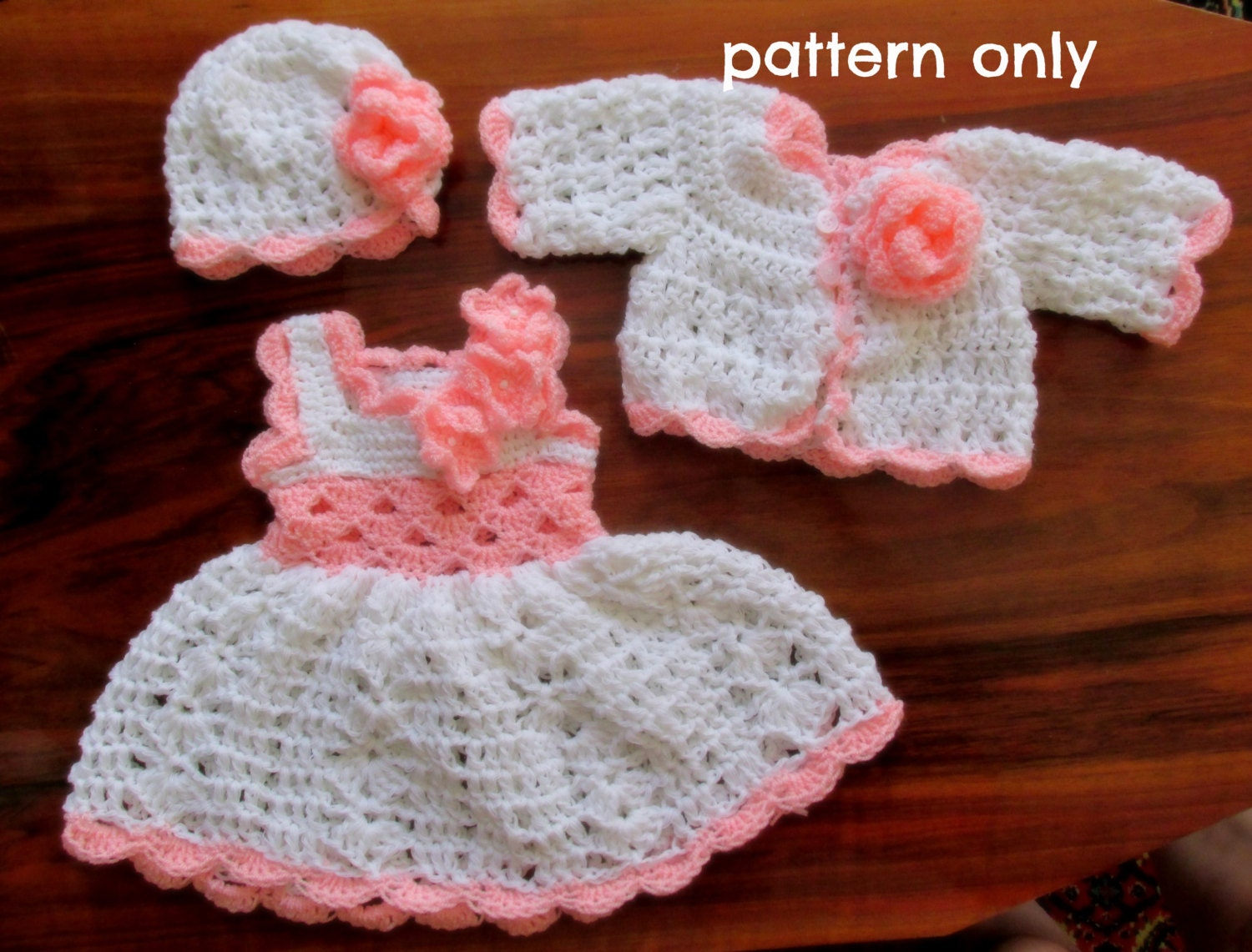 Crochet pattern pdf baby dress pattern newborn crochet set crochet pattern pdf baby dress pattern newborn crochet set crochet pattern baby dress hat crochet baby set infant clothes baby outfit dt1010fo