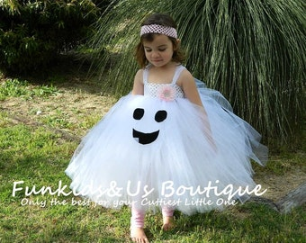 Halloween Dress-Ghost Dress-White & Black Tutu Dress,Halloween Costume-Outfit, Newborn to young Teen