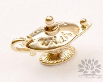 P842-MG// Matt Gold Plated Aladdin Magic Lamp Pendant, 2pcs