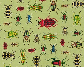 Nature Inspired Bug fabric, Entomology, Bugs, Insect Study in GREEN, Nature Study, Biology, Science fabric, Robert Kaufman- Choose the cut