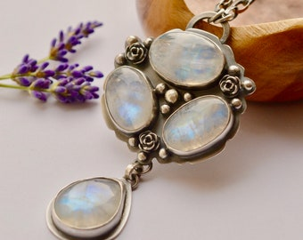 Rainbow Moonstone Necklace, Stone Cluster Pendant, Boho Style Metalwork, One of a Kind, Statement Necklace, Bold Style, Rose Details