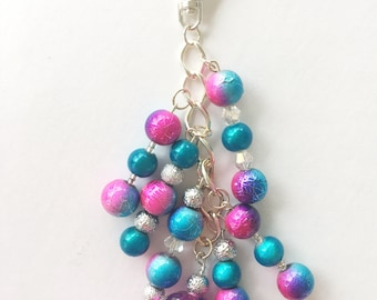 Pink and Blue Planner charm -  - Planner Accessories, Purse Charm, Zipper Pull, Chunky Travelers Notebook Charm