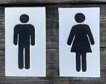 On Sale - SET OF 2 - Ladies Mens Symbol Metal Vintage Antique Style Restroom Bathroom Solid Iron Door Sign Plaque - 4 color options!