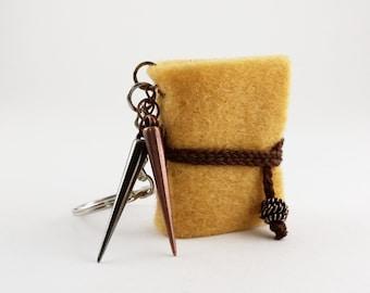 Tiny Yellow Steampunk Book- travel journal, mini notebook, handmade book, keychain, pendant necklace