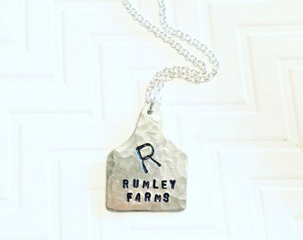 Cattle Brand Necklace - Ranch Brand Necklace  - Ear Tag Necklace - Rustic Necklace - Gift For Her - Silver Cow Tag Necklace