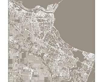 Corpus Christi Cityscape Map Art / Texas City Art Graphic Print / 8x10 / Choose your Color