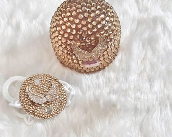 Handmade Swarovski Crystal Gold Pacifier Case and Pacifier Holder Gift Set / Avent Pacifier Box / Bling Pacifier Holder / Baby Gift Set