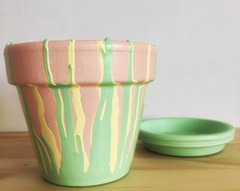 Hand Painted Plant Pot // Pink, Yellow and Green