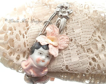 Tiny Doll Head Brooch Frozen Charlotte China Doll Head Pin Broach Lorelie Kay Original