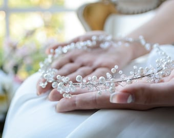 Silver Tiara, Pearl Tiara, Wedding Tiara, Bridal Tiara, Wedding Headband, Bridal headband, Bridal headpiece, Bridal hair piece, Bridal Vine