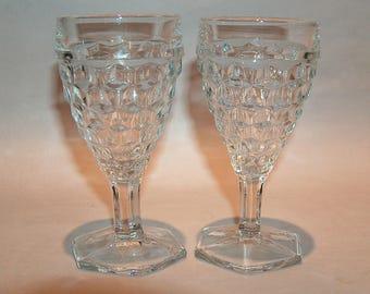 "8407: Fostoria American SET 2 Hex Foot Juice Wine Goblet Stem 4 3/8"" #2056 Vintage Glass at Vintageway Furniture"
