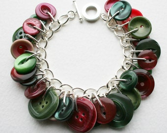 Button Bracelet Raspberry Red and Sage Moss Green