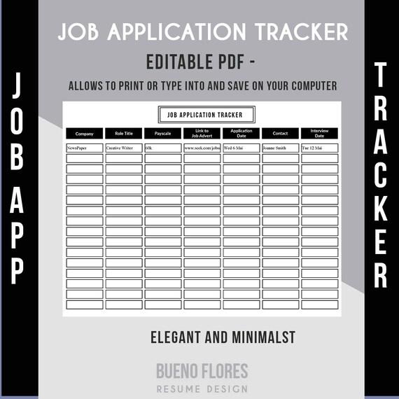 Job Application Tracker Job Application Log Editable