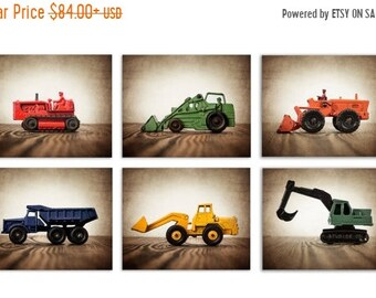 FLASH SALE til MIDNIGHT Set of Six Primary color Construction Digger Photo  Prints, BullDozer, Dumptruck, Digger, Tractors on Wood, Boys Roo