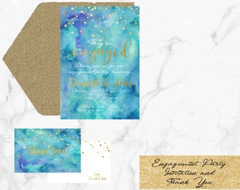 Engagement Party Invitation- Invite and Thank You- Printable