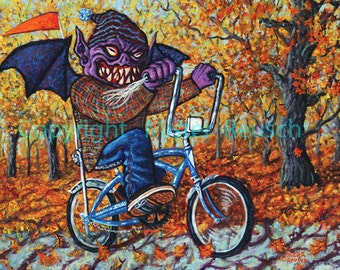 NEW Halloween 2012 Monster Riding Schwinn Stingray Signed Print by Mister Reusch