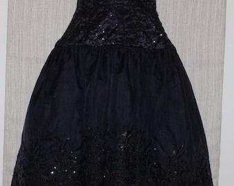 Vintage EVE of MILADY Black Asymmetrical Hem Formal Stripless Beaded Ball Dress SIZE:12