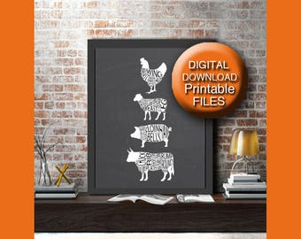 Printable Butcher Chart Meat Cuts Print Beef Cuts Kitchen Wall Art 5x7 8x10 11x14 16x20 A4 A3