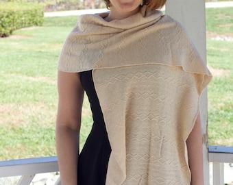Knit Elegant Wrap Shawl Beige tan cream