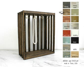 Necklace Display Crate, Rustic Jewelry Displays, Necklace Stands Holders, Craft Show Displays, Booth Displays, Shabby Chic Displays