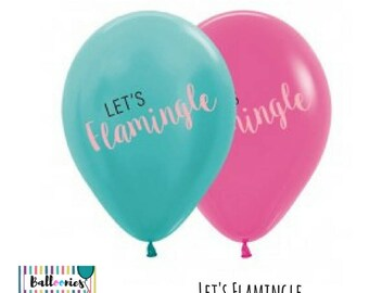 Let's Flamingle Latex 30cm balloon flamingo party tropical resort laua
