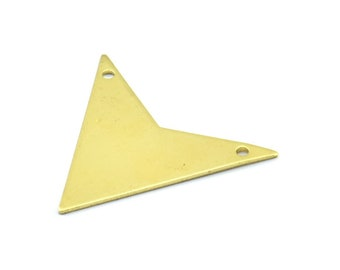 Arrow Triangle Pendant, 10 Raw Brass Triangle Pendants With 2 Holes (33x33x33x0.80 Mm) Brass 045 A0114