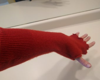 Recycled cashmere fingerless gloves, arm warmers, cashmere mitts, long mittens, red, recycled sweaters