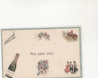 """Very Unique French Postcard """"Mes Petits Vices"""" Pictured On The Postcard, Unused"""