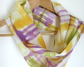 Handpainted silk infinity scarf - Abstract design loop scarf