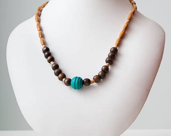 Wood Bead Necklace with turquoise, beige and dark brown Beads