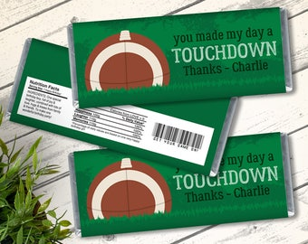 Football Candy Bar Label/Wrapper - Football Birthday, Tailgate, Bowl Party   Editable Text - Instant Download PDF Printable