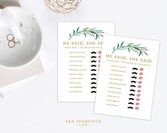 He Said She Said - Bridal Shower Game - Watercolor, Eucalyptus, Green, Gold Calligraphy - Eucalyptus Collection - Instant Download PDF file