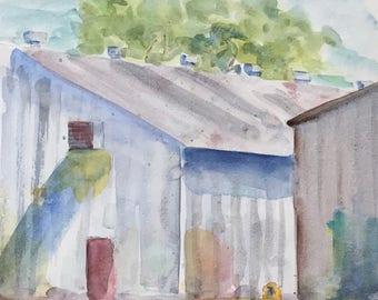 ORIGINAL.  Warehouses near the Cleburne Train Station, TX, Original Watercolor Painting