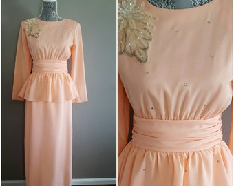 80's vintage evening gown/ 80s maxi dress/ 80's vintage peplum gown/ vintage formal party dress/ peach evening gown/ retro prom dress
