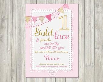 Gold, Lace, & Pearls Girls Birthday // DIGITAL INVITATION
