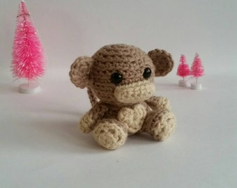 Mini Crochet Monkey, Stuffed Animal Monkey, Mini Plush Monkey, Kid's Birthday Gift, Jungle Animal Toy, Gifts under 30, mini Amigurumi Monkey