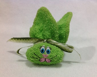 Lime Green Embroidered Boo-boo Bunny Bright Lime Green Rabbit