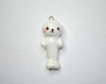 Glitter Animal White Seal Charm - Kawaii Polymer Clay
