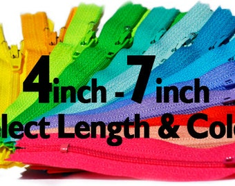 4 inch to 7 inch YKK Zippers Nylon Coil Closed Bottom - Each Color Ten Zippers - Select Length and Color