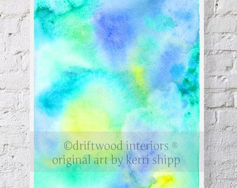 """Blue Abstract Watercolor Print- """"Plume"""" 11 x 14"""" - Blue and Green Watercolor - Abstract Art - Modern Abstract Print - Contemporary Art"""