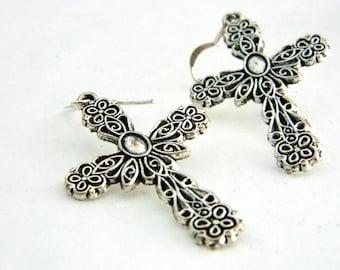 Large Fancy Cross Earrings Silver Color Dangle Earrings