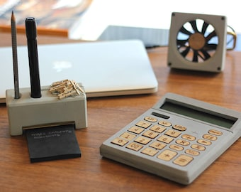 Concrete office set / Stationery / Office decor / Gift for him / Docking station / pen pod / concrete fan / calculator / office supplies