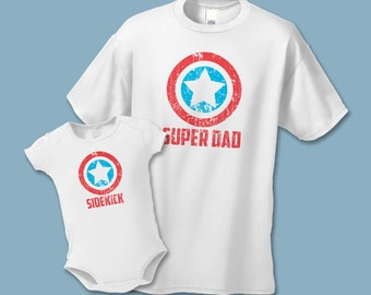 Father's Day Shirt Set - Super Dad and Sidekick Shirts -  Create a Matching Father Son Daughter  Set - Distressed Graphic,  Super Mom Shirts