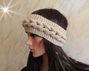 Cable Knitted Beige Skiing Headband Ear Warmer, Hand Knit Head Warmer Wrap Accessory