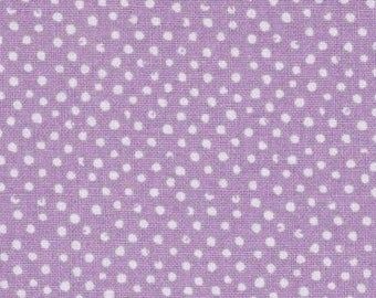 Polka dot fabric, fabric patchwork fabric mini coupon lavender and white confetti