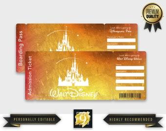Downloadable Disney World Tickets | Disney World boarding pass | Printable Disney World Trip Ticket | Disneyland Park Ticket | Template