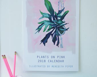 2018 Plants on Pink wall calendar