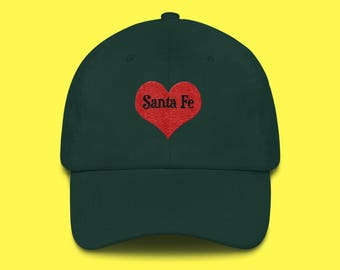 SANTA Fe Cap with the word Santa Fe inside of an Embroidered Red Heart with FREE SHIPPING
