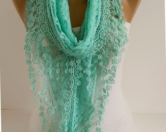 Mint Oversized Romantic Lace Scarf  Spring Scarf Summer Scarf Mint Scarf Bridal Shawl Scarf fashion Women Accessories gift for her for mom