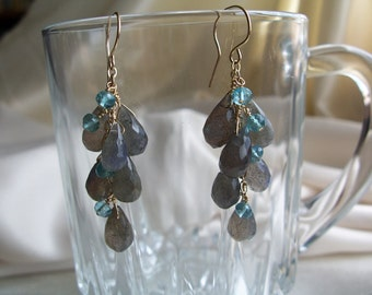 "Labradorite briolette apatite 14k gold filled dangle earrings 1 3/4"" total gemstone handmade item 518"